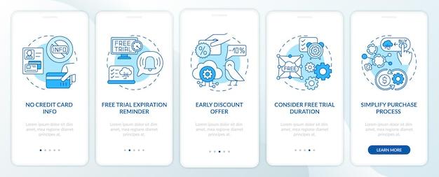 Gratis saas-proefmarketing voor onboarding van mobiele app-pagina met concepten. zonder creditcardinformatie, kortingen doorloopstappen grafische instructies. ui-sjabloon met rgb-kleurenillustraties