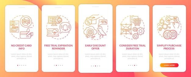 Gratis saas-proefversie van onboarding mobiele app-paginascherm met concepten. aankoopproces, doorloop creditcardinformatie 5 stappen ui-sjabloon met rgb-kleurenillustraties