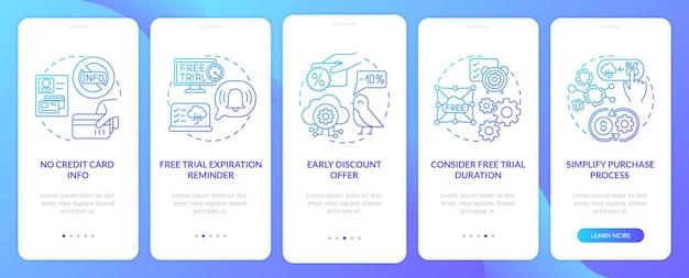 Gratis saas-proefversie van onboarding mobiele app-paginascherm met concepten. vervaldatumherinnering, duur doorloop 5 stappen. ui-sjabloon met rgb-kleur