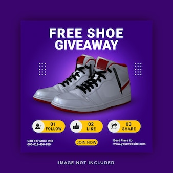 Gratis shoe giveaway instagram post banner social media post template