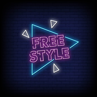 Gratis style neon signs style text vector