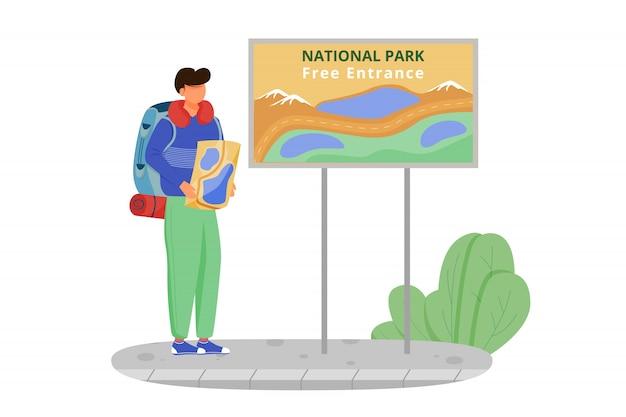 Gratis toegang tot illustratie van het nationaal park. wandelactiviteit, wandeltocht. goedkoop reizen keuze. toeristische met kaart. begroting toerisme stripfiguur op witte achtergrond