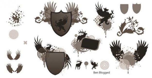 Gratis vector heraldische shield met wings