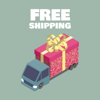 Gratis verzending. isometrische vrachtwagen met geschenkdoos.