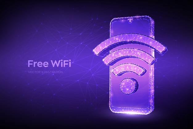 Gratis wifi-concept. abstracte laag veelhoekige smartphone met wi-fi teken.