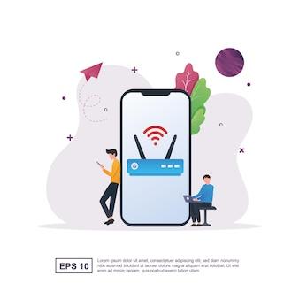 Gratis wifi-concept met wifi-modem en mensen die wifi gebruiken.