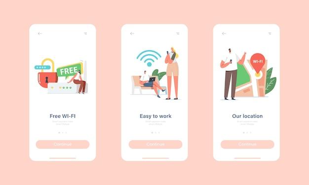 Gratis wifi-hotspotservice mobiele app-pagina onboard-schermsjabloon