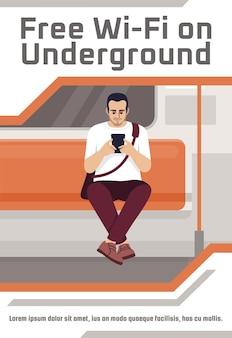 Gratis wifi op ondergronds postersjabloon. commercieel flyerontwerp met semi-platte afbeelding. vector cartoon promo kaart. reclame-uitnodiging voor de dekkingszone van het openbaar vervoer