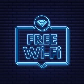 Gratis wifi zone blauw pictogram. gratis wifi hier teken concept. neon icoon. vector illustratie.