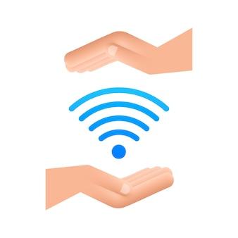 Gratis wifi zone blauw teken in handen icoon. gratis wifi hier teken concept. vector illustratie.