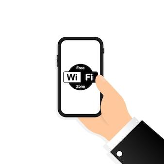 Gratis wifi zone icon set. draadloze verbinding. vector op geïsoleerde witte achtergrond. eps-10.