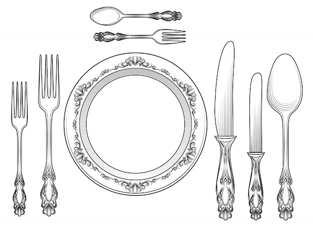 Graveren bestek en diner borden