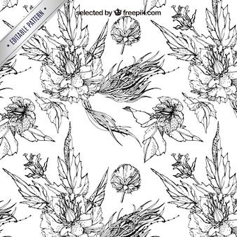 Graveren patroon met bloemen