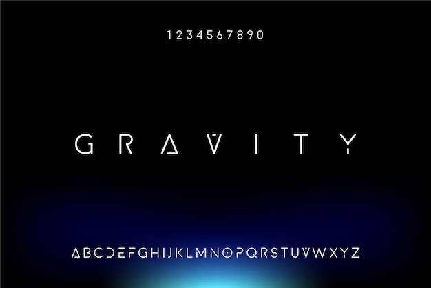 Gravity, een abstract futuristisch alfabetlettertype met technologiethema. modern minimalistisch typografieontwerp