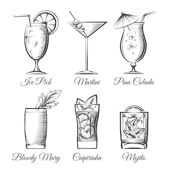 Gravure cocktails vector
