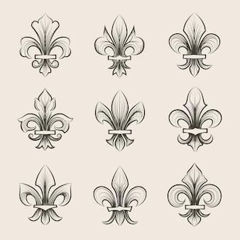 Gravure fleur de lis pictogrammen instellen. antieke decoratie fleur de lis, middeleeuwse heraldische fleur de lis, franse fleur de lis.