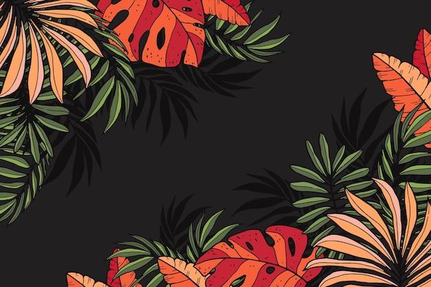 Gravure handgetekende tropische bladeren achtergrond