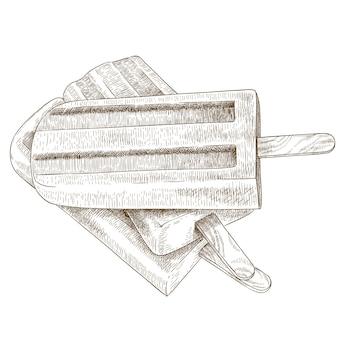 Gravure illustratie van drie ijslollys