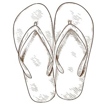 Gravure illustratie van flip-flops