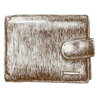 Gravure illustratie van portemonnee