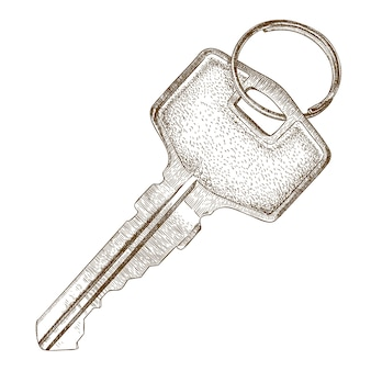 Gravure illustratie van sleutel
