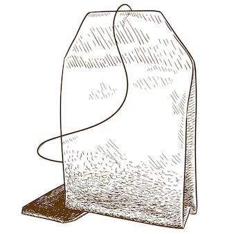Gravure illustratie van theezakje