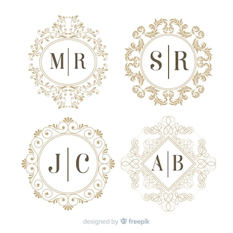 Gravure monogram bruiloft collectie