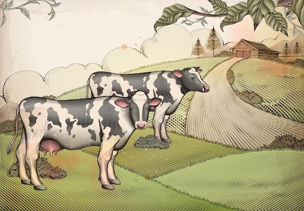 Gravure stijl melkvee en landbouwgrond achtergrondontwerp