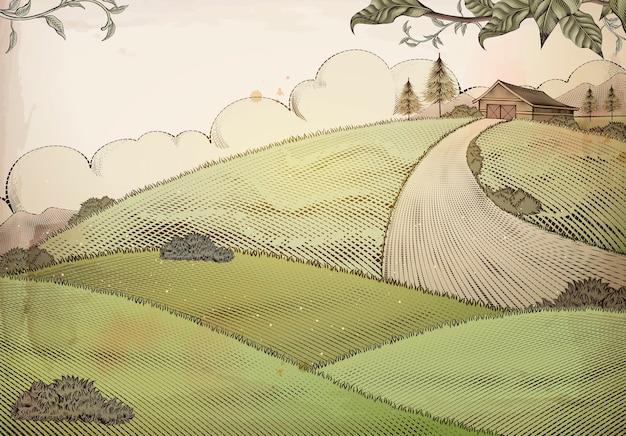 Gravure stijl platteland achtergrond met grasland en schuur