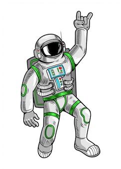Gravure tekenen met grappige coole kerel astronaut ruimtevaarder in ruimtepak.