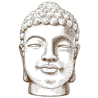 Gravure tekening illustratie van stenen boeddha hoofd