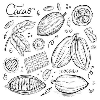 Gravure tekening van cacao en chocolade wereld dag doodle tekenen illustratie lijn kunst vector