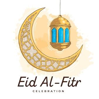 Gravure van de hand getekend eid al-fitr - hari raya aidilfitri illustratie Gratis Vector