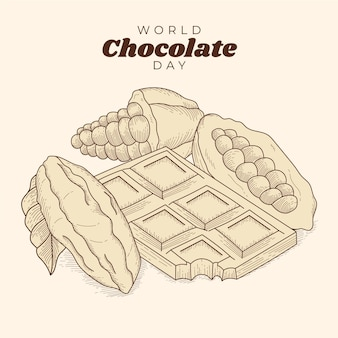 Gravure van de hand getekend wereld chocolade dag illustratie