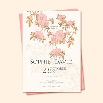 Gravure van de hand getekende bloemen bruiloft uitnodiging sjabloon