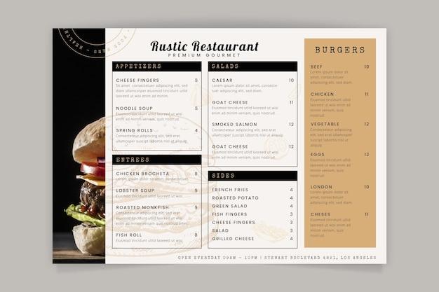 Gravure van de hand getekende rustieke restaurant menusjabloon met foto