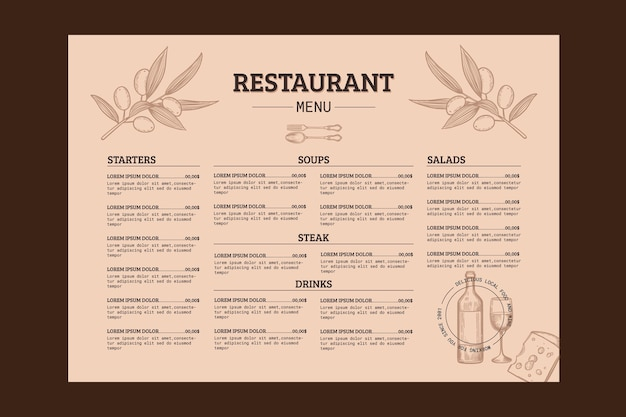 Gravure van de hand getekende rustieke restaurant menusjabloon