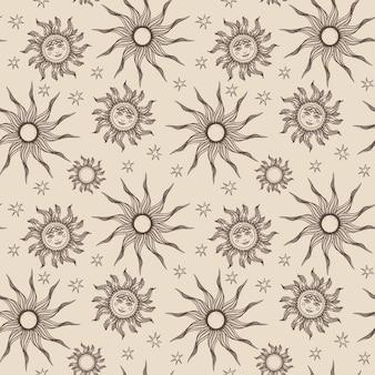 Gravure van de hand getekende zon patroon