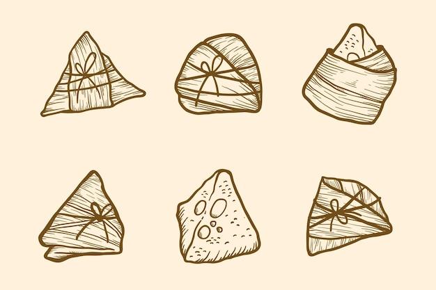 Gravure van de handgetekende zongzi-collectie van de drakenboot
