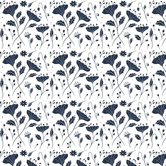 Gravure van hand getrokken gedrukte veldboeket patroon