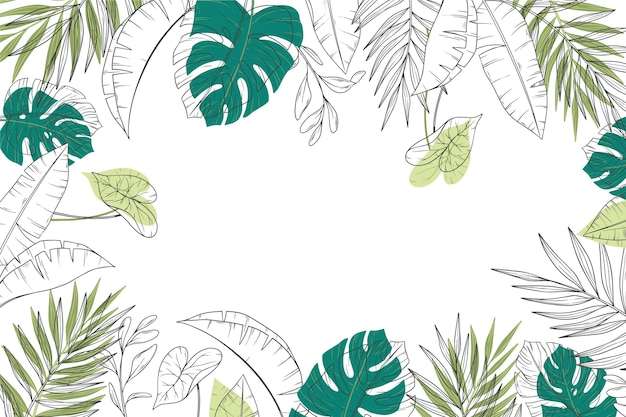 Gravure van hand getrokken tropische bladeren achtergrond