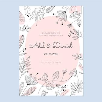 Gravure van handgetekende bloemen bruiloft uitnodiging sjabloon