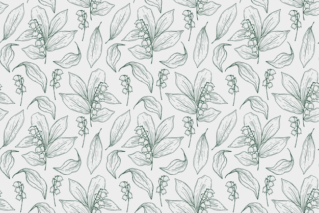 Gravure van handgetekende botanische patroon