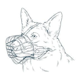 Gravure van handgetekende gemuilkorfde hond