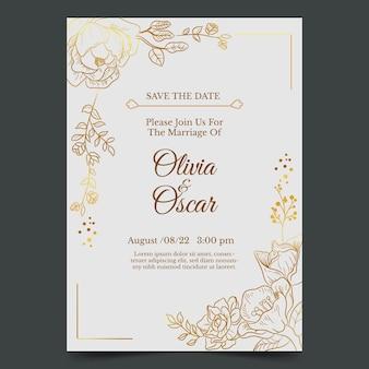 Gravure van handgetekende gouden bruiloft uitnodiging sjabloon