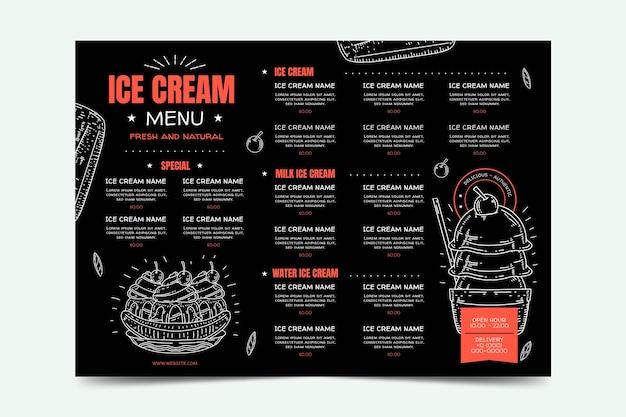 Gravure van handgetekende ijs schoolbord menusjabloon