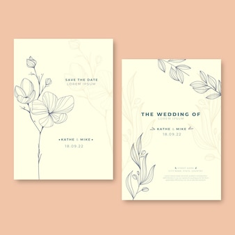 Gravure van handgetekende minimale huwelijksuitnodigingssjabloon