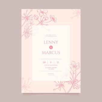 Gravure van handgetekende minimale sjabloon voor huwelijksuitnodigingen