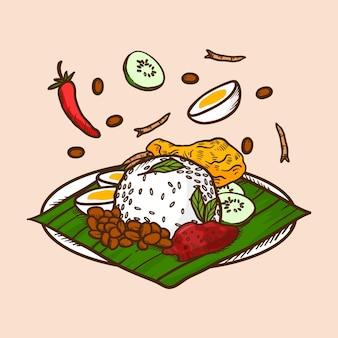 Gravure van handgetekende nasi lemak