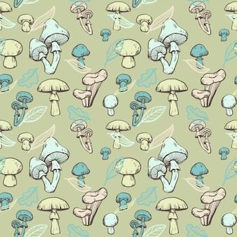Gravure van handgetekende paddestoel patroon